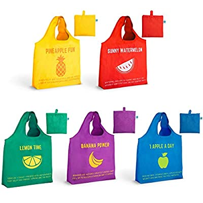 Reusable Grocery Bags Made from Recycled Plastic. Washable, Waterproof Pack of 5 Foldable Into Pouch Heavy Duty,Extra Large 50LBS With Cute Fun Colorful Design Fruit Eco-Friendly Durable Shopping Bag