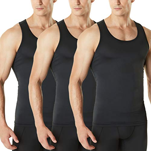 TSLA Men's Athletic Compression Sleeveless Tank Top, Cool Dry Sports Running Basketball Workout Base Layer, Active 3pack(mun24) - Black/Black/Black, X-Large