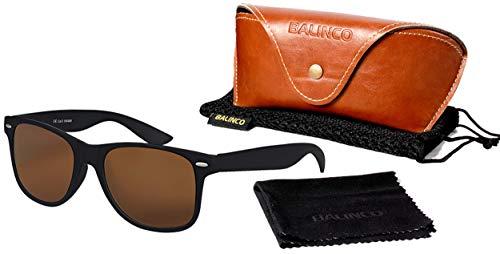 Balinco Hochwertige Polarisierte Nerd Rubber Sonnenbrille im Set (24 Modelle) Retro Vintage Unisex Brille mit Federscharnier (Black-Brown)
