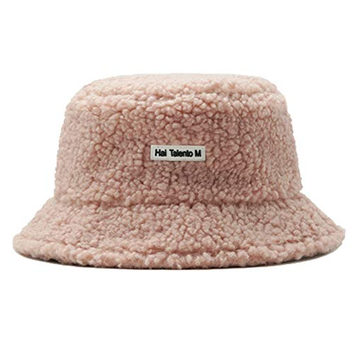 Damen Winter Warmer Winddichtes Bucket Hat Teddy-Art Solid Color Mode Hut Furry Cozy weiche Nette Hüte Fisherman Cap,Rosa