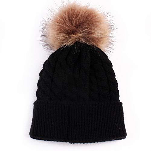 Queen.Y Baby Warm Hat,Infant Winter Warm Crochet Knit Hat Beanie Cap Toddler Kid Crochet Hairball Beanie Cap for 0-12 Months Black