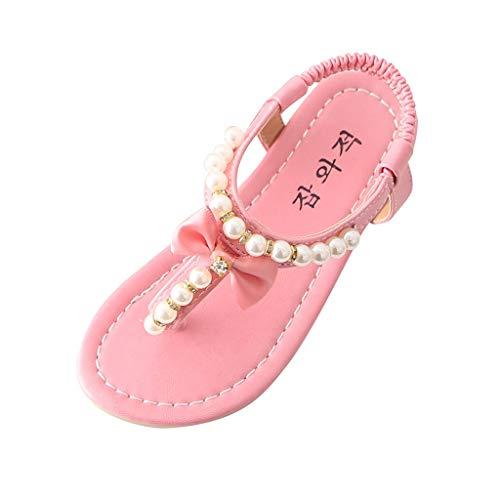 WFRAU Mädchen Perle Bowknot Sandalen Baby Kinder Elegant einfarbig Flip-Flop Sommerstrand Walking Prinzessin Schuhe Anti-Rutsch-Schuhe mit weicher Sohle Tanzschuhe
