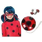 Rubies Ladybug Peluca complemento de disfraz infantil, talla única (Rubie's Spain 32929) + Miraculous Ladybug Set YO-YO y las pendientes
