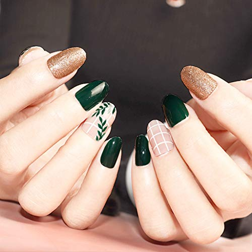 24 Stück Falsche Nägel Kurz Glitzer Gold Grün Künstliche Vollständige Abdeckung Gefälschte Nägel Natürlich Fake Nails Zum Aufkleben Natur Runde Fake Nails Mit für Damen und Frauen