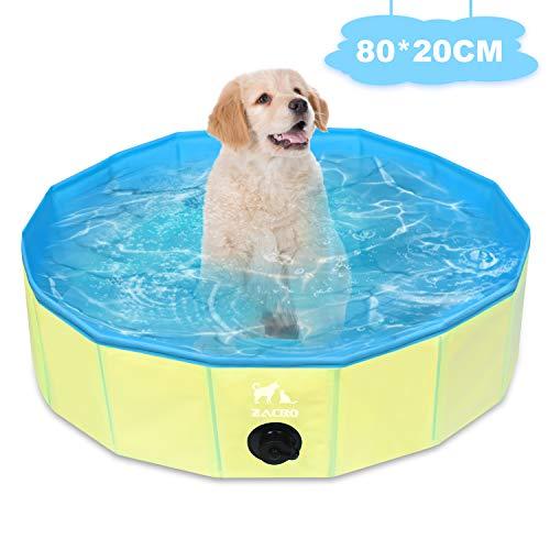 Zacro Faltbares Hundepool Schwimmbad Doggy Pool, Doppelt Dickes PVC Material Wasseraustritt Verhindern für Hunde und Katzen, 80cm x 20cm