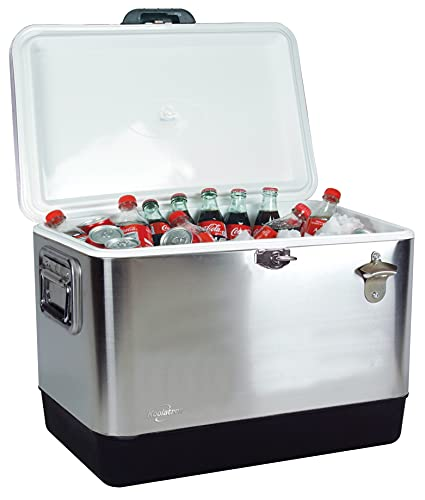 Koolatron KIC-54 Stainless Steel Ice Chest Cooler with Bottle Opener 51...