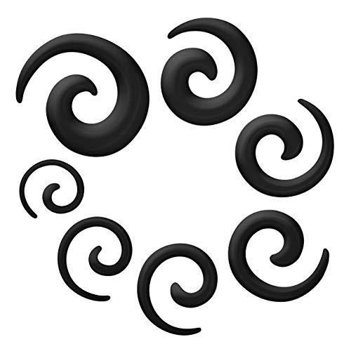 SoulCats® Tunnelset Dehnungsset schwarz silber, Auswahl:Set Dehnschnecken schwarz
