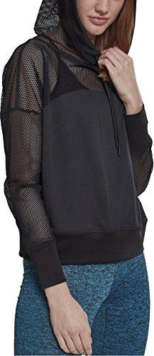 Urban Classics Damen Ladies Mesh Hoody Kapuzenpullover, Schwarz (Black 00007), X-Large (Herstellergröße: XL)