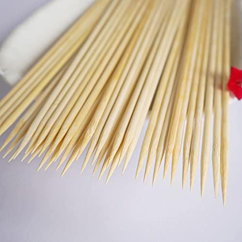 100 palitos de bambú para barbacoa, 30 cm, para barbacoas, cócteles, kebabs, suministros para fiestas (3,0 mm)