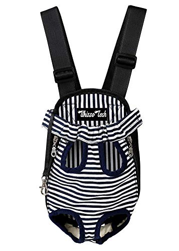 Whizzotech Pet Carrier Backpack, Adjustable Pet Front Cat Dog Carrier Backpack Travel Bag, Legs Out, Easy-Fit for Traveling Hiking Camping PB03 (S, Stripe)