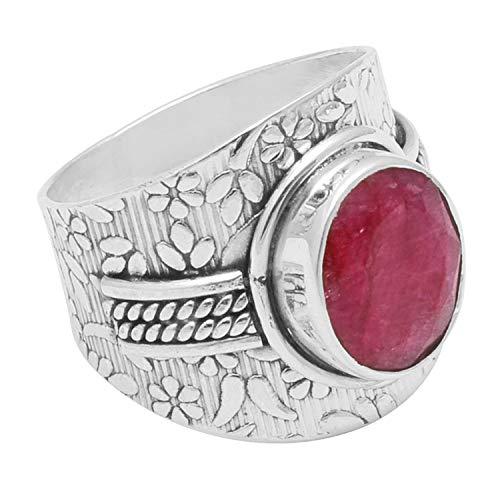 Silver Palace Anillo de Plata de Ley Natural con Piedras Preciosas rubí 925 para Mujer y Hombre