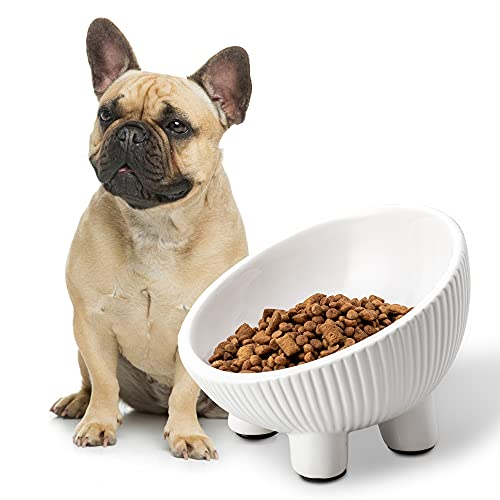 Jemirry Ceramic Dog Bowl,7.8 Inch Non Slip Elevated Dog Bowl,Cute Food and Water Dog Bowl,15° Tilt Raised Pet Feeding Bowl for Small Medium Dogs and Cats,Oven Microwave Dishwasher Safe,White