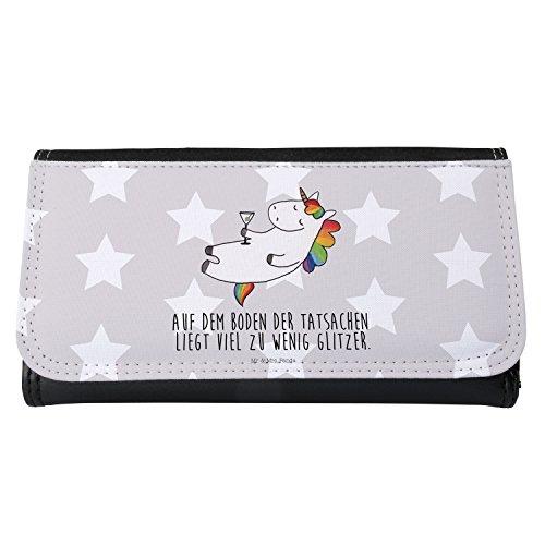 Mr. & Mrs. Panda Geldbörse, Frauen, Damen Portemonnaie Einhorn Cocktail mit Spruch - Farbe Grau Pastell
