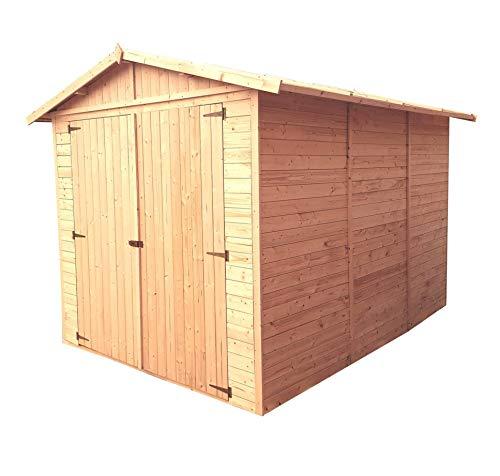 TIMBELA M105 Garage en Bois Exterieur - Chalet en Pin/épicéa- 224 x 320 cm/ 6 m² - Construction de Panneaux