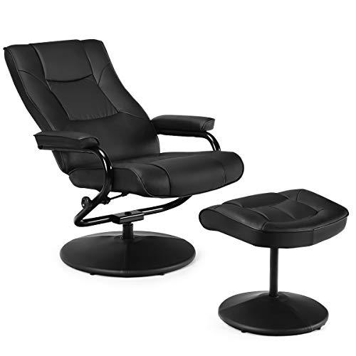 Giantex Relaxsessel mit Hocker, Fernsehsessel TV Sessel 150°kippbar & 360° drehbar, Drehsessel Wohnzimmersessel Relaxstuhl für Wohnzimmer Arbeitszimmer Büro (schwarz)