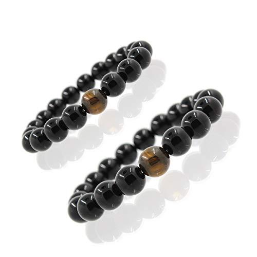 Pulseras ajustables para ella de piedras naturales benéficas, naturales pulseras para hombre y mujer pulsera perlas Mala elástica 8 mm, 10 mm
