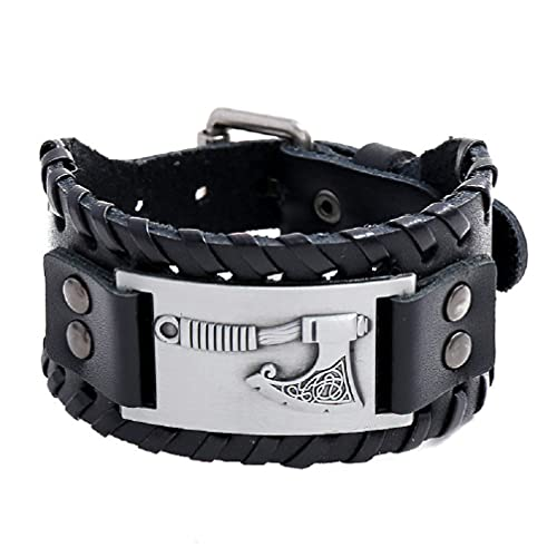 Axe Bracelet for Men, Nordic Viking Axe Leather Bracelet Celtic Axe Cuff Bangle Bracelet Men's Punk Norse Axe Wristband Bracelet Jewelry Gift Father's Day Accessories (black buckle)