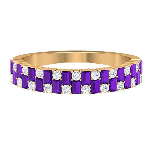 Anillo de amatista en forma de baguette de 2,20 x 1,5 mm, anillo de clúster de diamantes HI-SI, anillo de media eternidad, anillo de boda oro (calidad AAA), 14K Oro amarillo, Size:EU 53