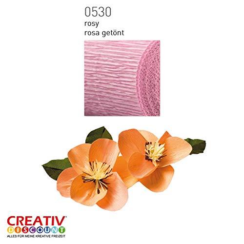 CREATIV DISCOUNT® NEU Floristen Krepp-Papier 50x250cm, Rosa getönt