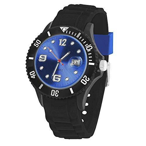 Taffstyle Damen Herren Sportuhr Armbanduhr Silikon Sport Watch Farbiges Ziffernblatt mit Datum Analog Quarz Uhr Schwarz Blau