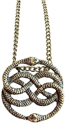 FHK Collar de bronce con historia Infinita, collar Auryn, collar de doble serpiente redondo largo, colgante serpiente de historia infinita, collar redondo.