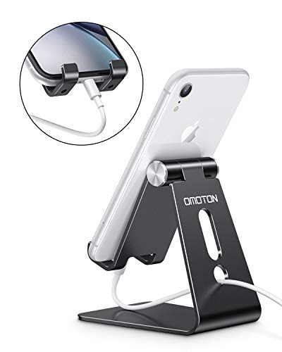 Adjustable Cell Phone Stand, OMOTON Aluminum Desktop Cellphone Stand with Anti-Slip Base and Convenient Charging Port… 7 41u2y2ESXkL