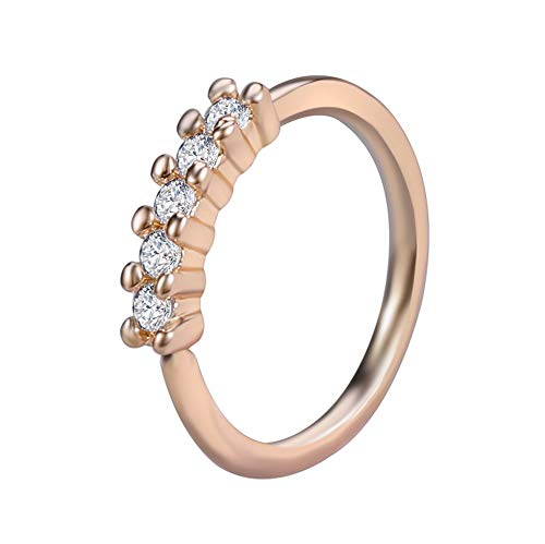 LZZR 1PC Brass Septum 20G Nose Rings Earrings Conch Rook Body Jewelry (Color : J Rose Gold, Size : 6mm)