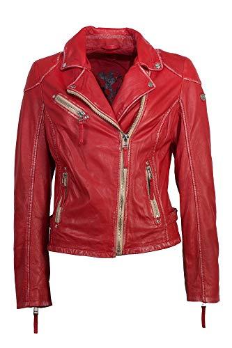 Gipsy Modische Damen Lederjacke in rot, eine tolle Bikerjacke aus echtem Leder (M, Rot)