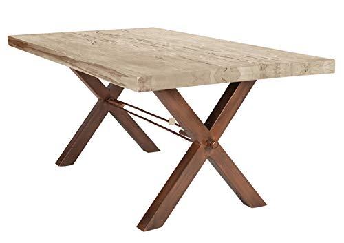 Sit Möbel tafel 200x100 cm, eiken balken white-wash plaat balkeneik, frame ijzer B 200 x D 100 x H 79 cm plaat white-wash, frame antiek bruin bestaande uit 7170-10 + 7113-00, plaatdikte 6 cm