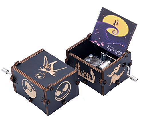 Mini caja de música The Nightmare Before Christmas caja musical de madera para regalo de cumpleaños, Navidad, Día de Acción de Gracias, Halloween, decoración de color negro