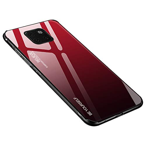 Desconocido Funda para Huawei Mate 20 / Mate 20X / Mate 20 Lite/Mate 20 Pro, Borde de Silicona TPU Suave Vidrio Templado Cubierta Trasera Carcasa a los Arañazos (Huawei Mate 20 Pro, Rojo + Negro)