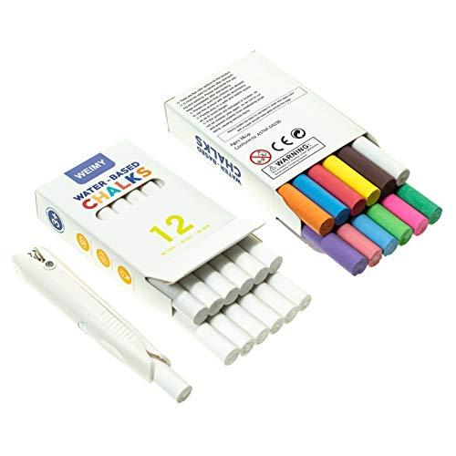 KAYIVA Non-Toxic Premium White Dustless Chalk (12 ct Box) and Colored Dustless Chalk (12 ct Box) Truly Dust Free Chalk for Art, Decorating (White Box)