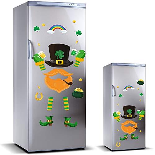 24 Pieces St Patrick#039s Day Refrigerator Magnets Large Leprechaun Fridge Magnet Sticker Shamrock Beer Coin Magnet Sticker Irish Decoration for St Patrick#039s Day Party Decor Home Kitchen Door Cabinet