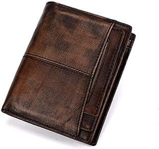 Carteras de Cuero de Grano Completo para Hombres Bloqueo de RFID de Cuero Delgado Minimalista Tarjeta Delantera Billet Bif...