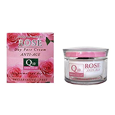 Anti-wrinkle Day Face Cream with Coenzyme Q10, 45+, Natural Rose Oil, Vitamin E and Vegetable Glycerin, Power Anti Aging, Nourishing, No Parabens, No Preservatives, 50ml. by Aroma Essence