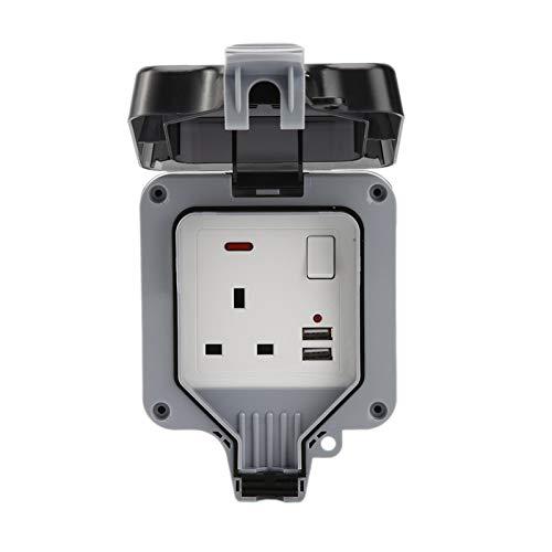 Lafitemore - Enchufe impermeable contra el polvo IP66 carga exterior lluvia industrial USB, carcasa enchufe de pared estanco estándar británico 13 A doble eléctrico exterior eléctrico