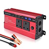 LVYUAN 1500W Power Inverter 12V to 240V AC Car Converter with 3.1A 4 USB 2 AC Sockets Dual Car Adapter With 2 LED Display