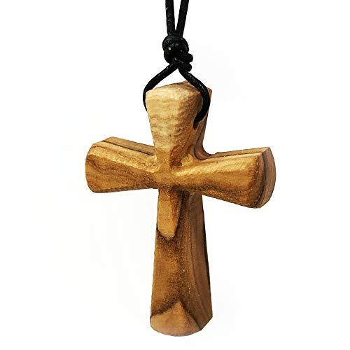 Collar de cruz de madera maciza, colgante de crucifijo para mujeres y hombres en cordón de cuero (Black)