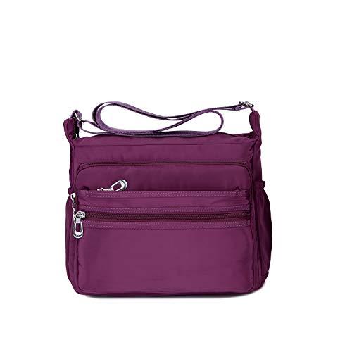 NOTAG Damen Umhängetasche, Wasserdicht Nylon Schultertasche Multi-Tasche Messenger Bag 2 Size (Lila, L)