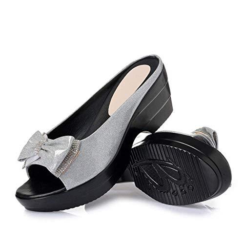 MxZas Top - Chancletas unisex para adultos, sandalias planas para mujer, tacón de cuña de arrastre, zapatillas impermeables plateadas_36, sandalias Eva Toe Post Flip Flop Jzx-n