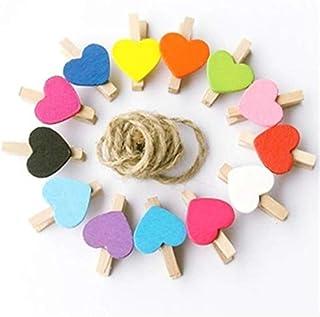 دبوس ملابس من لوازم المكتب المدرسية، شكل الحب الخشبي، الحرف اليدوية الورقية، صور معلقة الربيع كليب (3.5 سم خلط الألوان 50 ...