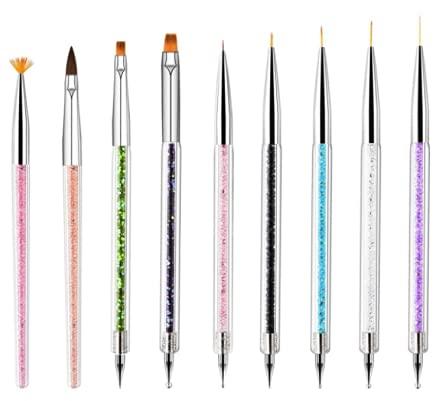 Nail Art Brushes, 9PCS Nail Brushes for Nail Art with Nail Liner Brush and Nail Dotting Pens for Home Use and Professional Nail Salon