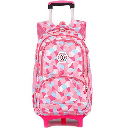 LHY EQUIPMENT Elementary School Wheeled Trolley Bag Ridge Protection Belt Roller Waterproof Shoulder Bag Retractable Handle Suitcase,Pink,2wheels