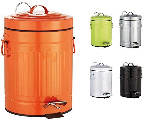 SANWOOD Cubo de Basura para baño Oscar, Referencia 1008208, con Pedal y Dispositivo de Descenso automático, 5l, diseño Retro, de Metal, Color Naranja, 21,4x 26,4x 29,2 cm