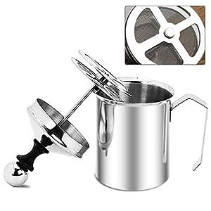 Espumador de leche manual de acero inoxidable, máquina de espuma de leche manual, taza de 17 onzas para capuchino y café latte (500 ml)