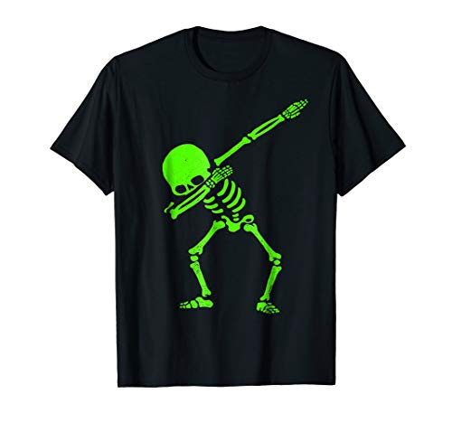 Dabbing Skeleton Shirt Halloween T-Shirt GLOW Skeleton Dab