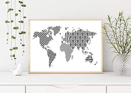 Print Weltkarte Muster pattern Aquarell A3