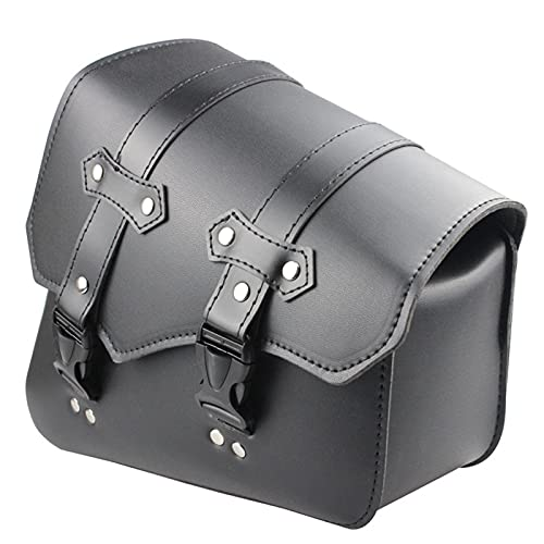 YILYMINA Bolsa de Herramientas de Motocicleta Negra Bolsa Colgante de Motocicleta Bolsa de Sillín de Cuero PU para Motocicleta Bolsas de Herramientas de Motocicleta Universales,Black