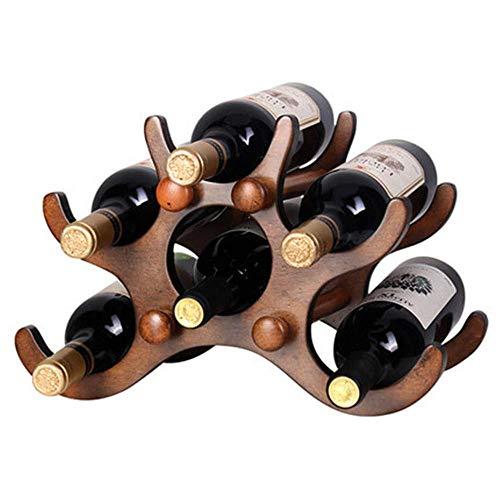 Dirgee 6-Flaschen-Weinregal, Natur Bambus-Wein-Ausstellungsständer, freistehendes und Arbeitsplatten-Wein-Speicherregal, for Flaschen - perfekt for Bar, Weinkeller, Keller, Schrank, Speisekammer usw