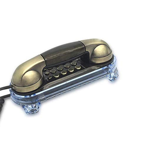 TelPal Small Size Trimline Corded Phone Antique Retro Wall Mounted Telephone Old Fashion Classic Vintage Telephone with Bottom Light for Desk Wall Mount (Bronze)